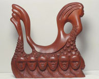 Before the Mayflower, mahogany sculpture